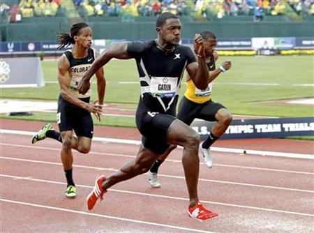 Justin Gatlin competes in men's 100 metres preliminary at the U.S. Olympic athletics trials in Eugene