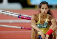 SINGAPORE,21 Aug - Angelica Bengtsson of Sweden reacts during girls' pole vault final A of Athletics at the Singapore 2010 Youth Olympic Games in Singapore, August 21, 2010. Bengtsson won the gold medal of the event.