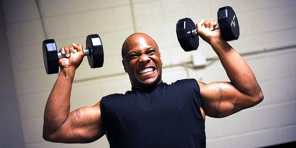 Photo by Ingrid BarrentineMaurice Elder, NAS Whidbey, works out prior to competing in the open men heavyweight division at the 2011 JBLM Bodybuilding Championship June 4 on JBLM.